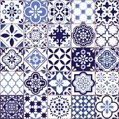 Portuguese Vector Azulejo Tile Seamless Pattern, Lisbon Retro Old Tiles Mosaic, Mediterranean Repeti poster
