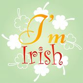 Kiss Me, I Am Irish. Typographic Style Poster For St. Patricks Day. Lettering T-shirt Design. Vintag poster