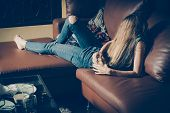 Young Drunk Woman On The Sofa. Depression Concept. Unhealthy Lifestyle. poster