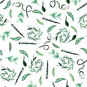 Seamless Pattern On A White Background, Watercolor Leaf Botany And Decorative Curls, Green Color poster