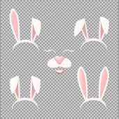 Vector Bunny Ears Mask Set Cartoon Illustration Isolated On A Transparent Background . Ostern Rabbit poster