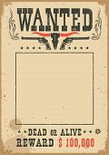 Wanted Poster With Wild West Decoration.vector Western Illustration For Party poster