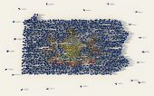 Large Group Of People Forming Pennsylvania Flag Map In The United States Of America In Social Media  poster