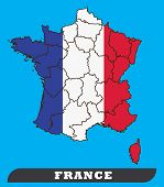 France Map And France Flag. France Map And France Flag Use For Background Drawing By Illustration poster