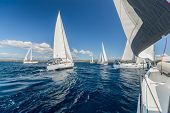 Sailing regatta yachts competition. Summer sport and recreation activities. poster