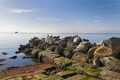 Sea Horizon Nature Landscape. Rocky Shore And Sea Landscape. Sea Horizon View In Nature. Sea Landsca poster