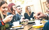 Friends Drinking Cappuccino At Coffee Restaurant - Millenial People Talking And Having Fun Together  poster