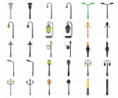 Lamp Post Cartoon, Black Icons In Set Collection For Design. Lantern And Lighting Vector Symbol Stoc poster
