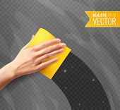 Woman Hand Wiping Dirty Glass With Yellow Napkin Transparent Background In Realistic Style Vector Il poster