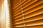 stock photo of louvers  - two natural brown wooden horizontal jalousie side - JPG