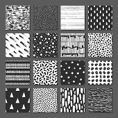 Set Of 16 Seamless Pattern. Drops, Points, Lines, Stripes, Circles, Squares, Rectangles. Abstract Fo poster