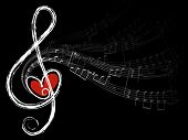 image of musical note  - treble love and music notes  - JPG