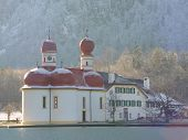 Church. Winter In Koenigsee. Germany, Bayern.