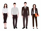 Business People Man And Woman Human Resources Flat Vector Illustrations. Company Staff Business Team poster