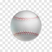 Realistic Leather Baseball Ball Isolated On Transparent Background. Sports Equipment For American Te poster