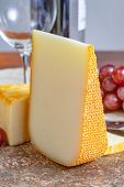 French Yellow Cheeses, Pur Brebis Sheep Melk Cheese Fron Pyrenees And Saint Paulin Creamy, Mild, Sem poster