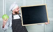 Man Chef Hat Apron Hold Blackboard Copy Space. Recipe Concept. Cooking Delicious Meal Step By Step.  poster