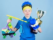 Athlete Successful Boy Sport Equipment Jump Rope Boxing Glove Tennis Racket Roller Skate And Golden  poster