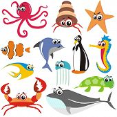 VECTOR - Animal Fish Set:  crab, octopus, fish, shark, turtle,  jellyfish,  whale, sea horse, star