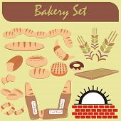 VECTOR - Set of Healthy Bakery Icons - (Furnace, Fresh Bread, chocolate donut, crowson, wheat ear) s