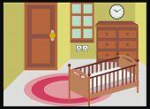 VECTOR - Newborn Room ( Bedroom ) - with Furniture - Drawer Cabinet, Carpet - Door, Window - Clock - Interior Design
