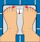 A Women Standing on Bathroom Scale - Scale Indicator Shows 100 KG - Her Toe Nails ar Painted By Mani