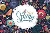 Hello Spring. Trendy Script Lettering Design Spring Sale. - Vector Illustration Flowers And Birds poster