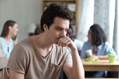 Upset Thoughtful Man Sitting Alone, Low Self-esteem, Have No Friends poster