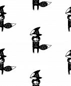 Cute Cartoon Animal Pattern With Hand Drawn Fox. Sweet Vector Black And White Animal Pattern. Seamle poster