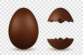 Easter Egg 3d. Chocolate Brown Whole And Broken Eggs Set, Isolated White Transparent Background. Tra poster