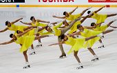Team Fire on Ice, of Australia, competes in the 2011 World Synchronized Skating Championships