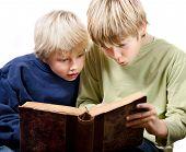 2 blonde boys reading