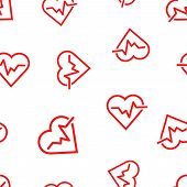 Heartbeat Line With Heart Icon Seamless Pattern Background. Business Concept Vector Illustration. He poster