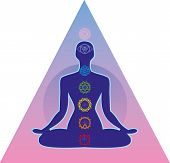 foto of kundalini  - illustration depicting the silhouette of a person seated in the lotus position with seven chakras - JPG