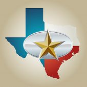 image of sherif  - Texas Flag and State shape with star belt buckle - JPG