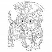Coloring Page. Coloring Book. Anti Stress Colouring Picture With Dachshund Dog. Freehand Sketch Draw poster
