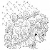 Zentangle Coloring Page. Colouring Picture With Hedgehog And Spring Flowers. Freehand Sketch Drawing poster