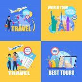 Flat Banner Set Business Travel.special Offer 30 50 Percent Off. World Tour. Best Tours. Family Trav poster