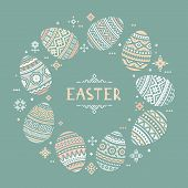 The Circular Template With Place For The Text Of Colorful Easter Egg Vector Flat Icons Painted In Tr poster