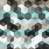 Hexagon Grid Seamless Vector Background. Cool Polygons With Bauhaus Corners Geometric Graphic Design poster