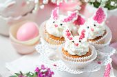 Bunny Cupcakes On A White Cake Stand. Easter Dessert poster