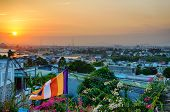 View From The Mountain To The Evening Fan Thiet, Binh Thuan, Vietnam, Sunset Time, An Even Circle Of poster