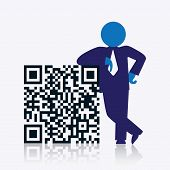 stock photo of qr-code  - QR code with savvy businessman standing next to it - JPG