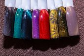 Manicure Color Picker Set. Samples Of Nail Varnishes Close Up. Collection Of Bright Color Nail Polis poster
