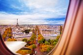 Paris France And Eiffel Tower From Plane Window poster