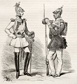 Prussian army uniforms old illustration. Created by Brugnot, published on Magasin Pittoresque, Paris, 1845