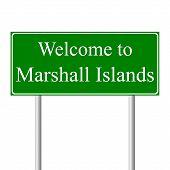 Bem-vindo às Ilhas Marshall, estrada de conceito sinal