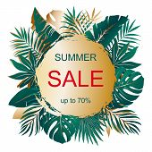 Summer Sale. Advertising Banner With Text And Bouquets Of Tropical Palm Leaves On Gold Sun. Exotic B poster