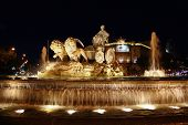Cibeles night statue in Madrid Paseo Castellana of Spain