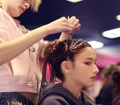 pic of hair cutting  - a girl getting her hair done - JPG